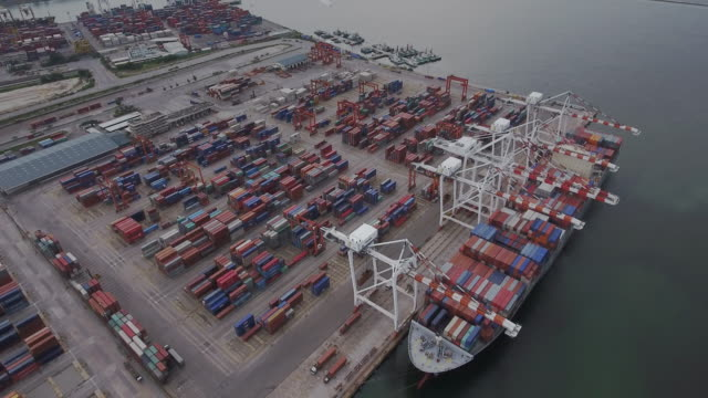 aerial footage of cargo seaport - pitcher jug stock videos & royalty-free footage