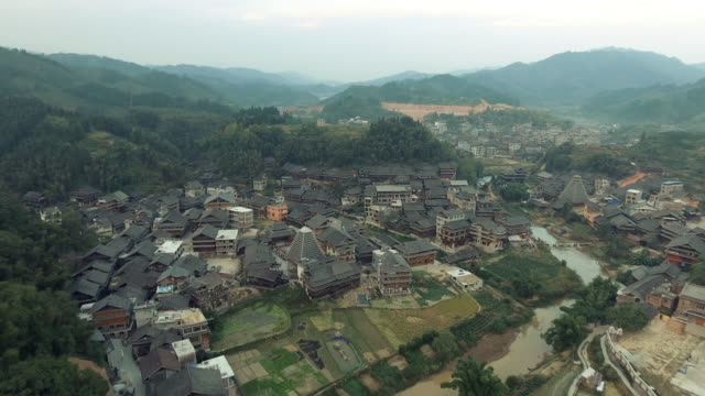 Aerial footage of Chengyang area of Sanjiang China