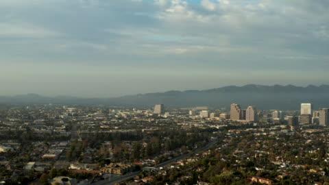 aerial footage of downtown glendale, california - 4k drone video - urban sprawl stock videos & royalty-free footage