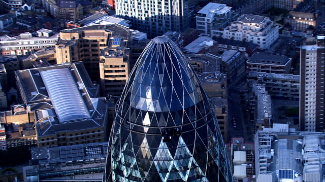 aerial footage of gherkin, london, uk - aerial view stock videos & royalty-free footage