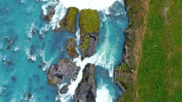 Aerial footage of Godafoss waterfall in Iceland