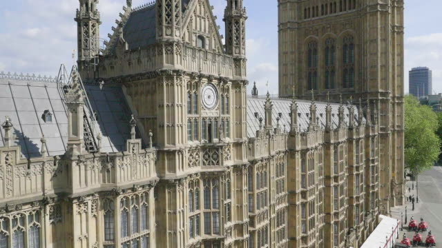aerial footage of houses of parliament - tilt up stock videos & royalty-free footage