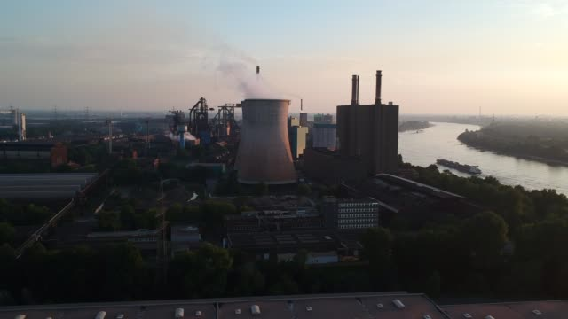 aerial footage of hüttenwerke krupp mannesmann steelworks duisburg germany - ruhr stock videos & royalty-free footage