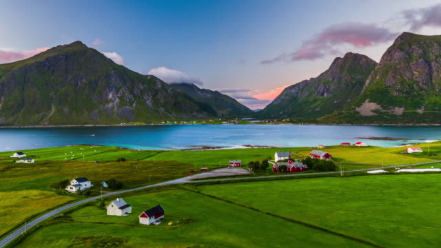 Aerial footage of idyllic nordic landscape at the Lofoten Islands in Norway