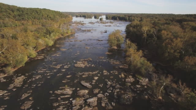 aerial footage of islands and rapids on the potomac river in maryland - river potomac stock videos & royalty-free footage