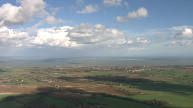 aerial footage of kent countryside and farmland on 13 march 2021 in kent, united kingdom - farm stock videos & royalty-free footage