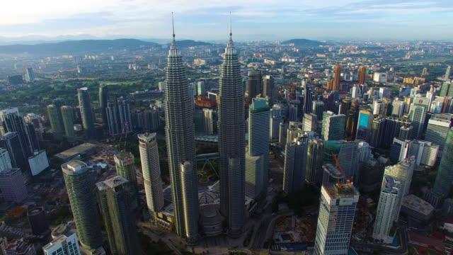 Aerial footage of Kuala Lumpur city skyline