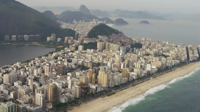 Aerial footage of lagoon and shoreline in Rio.
