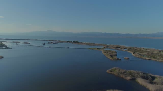 Aerial footage of lake and lagoon Vistonida in Xanthi and Porto Lagos, in Thrace
