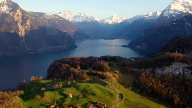 aerial footage of lake lucerne in canton uri in switzerland - lake lucerne stock videos & royalty-free footage