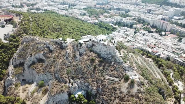 aerial footage of lycabettus hill in athens, greece - lycabettus hill stock videos & royalty-free footage