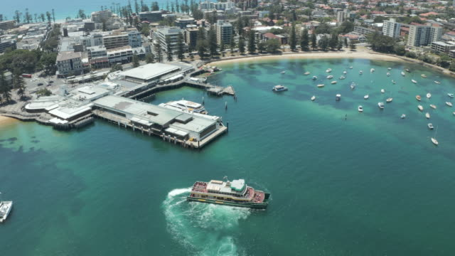 4k aerial footage of manly, nsw, australia - ferry stock videos & royalty-free footage