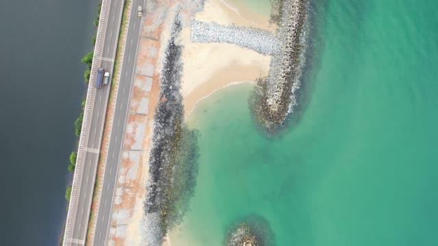 aerial footage of maravanthe beach - island stock videos & royalty-free footage