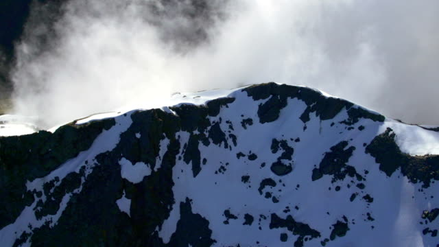 Aerial Footage of New Zealand Alps along mountain ridge