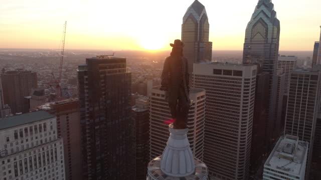 aerial footage of philadelphia - william penn stock videos and b-roll footage
