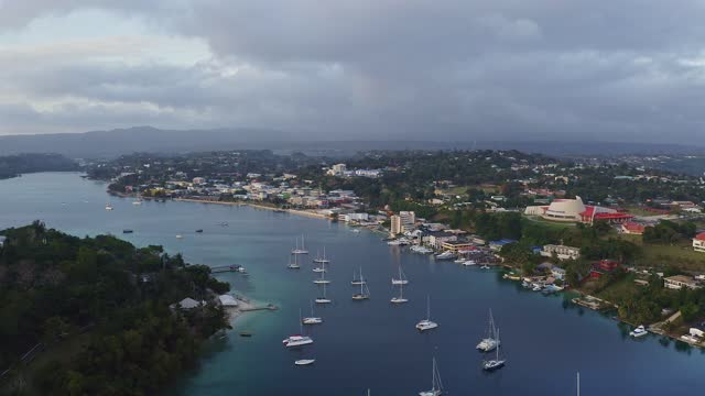 aerial footage of port vila harbor, capital city of vanuatu - south pacific ocean stock videos & royalty-free footage