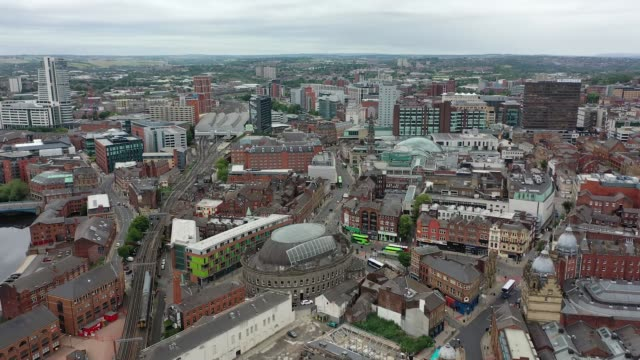 aerial footage of quiet streets and roads around leeds city centre as the nation remains under lockdown restrictions. - city stock videos & royalty-free footage