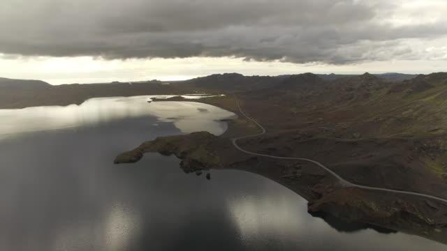 aerial footage of reykjavik coastal road - coastal road stock videos & royalty-free footage