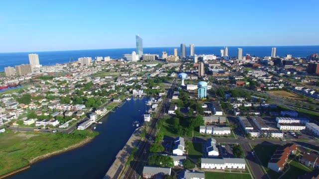 Aerial footage of several vignettes over Atlantic City NJ on Monday July 11 Shots Front Slide left to right shot facing towards the Atlantic...