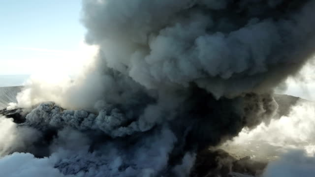 Aerial footage of Shinmoedake volcano erupting large ash cloud from its crater on 6th March 2018