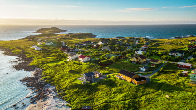 Aerial footage of small village on the Lofoten Islands in Norway