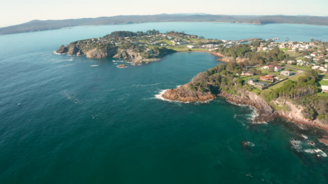 aerial footage of snug cove and eden, nsw, asutralia - new south wales stock videos & royalty-free footage