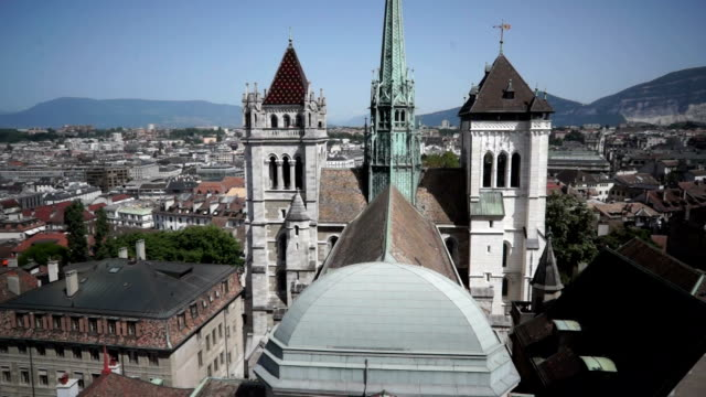 Aerial Footage of St. Pierre Cathedral in Geneva, Switzerland