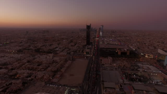 aerial footage of sunset over central riyadh, saudi arabia - saudi arabia stock videos & royalty-free footage