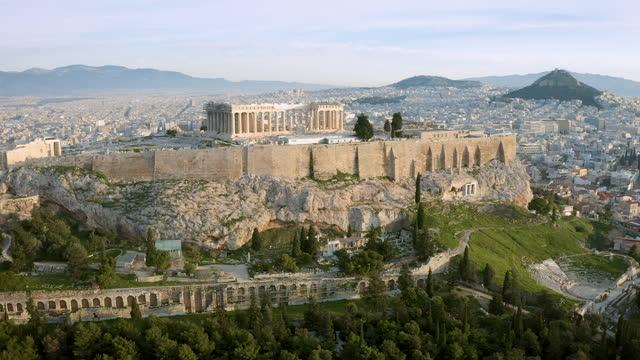 aerial footage of the acropolis of athens, greece - parthenon athens stock videos & royalty-free footage