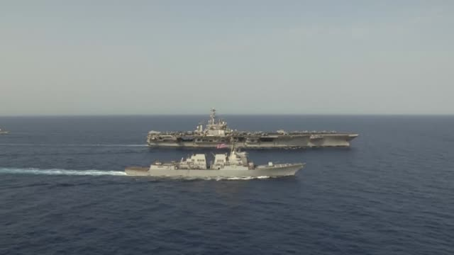 aerial footage of the aircraft carrier uss nimitz , uss princeton , uss stockdale , uss mason , uss shoup , uss william p. lawrence . - air vehicle stock videos & royalty-free footage