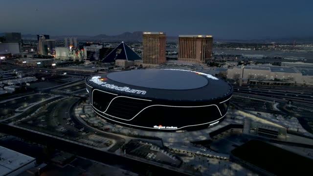 aerial footage of the allegiant stadium, las vegas raiders - sport venue stock videos & royalty-free footage