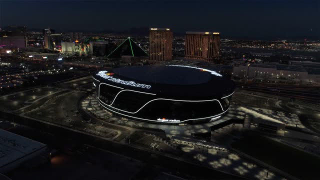 aerial footage of the allegiant stadium, las vegas raiders - las vegas stock videos & royalty-free footage