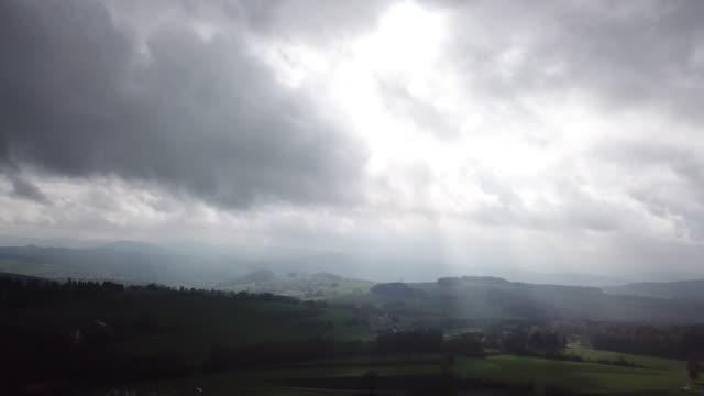 Aerial footage of the bio-preservation area Rhön, Germany, under dramatic skies