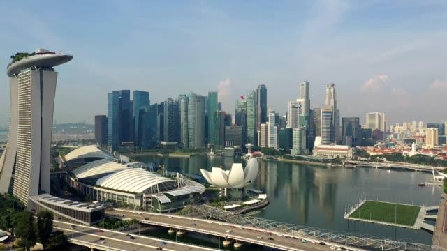 aerial footage of the famous singapore downtown district skyline - 概念與主題 個影片檔及 b 捲影像