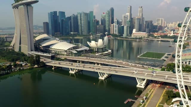 aerial footage of the famous singapore downtown district skyline - andersherum stock-videos und b-roll-filmmaterial