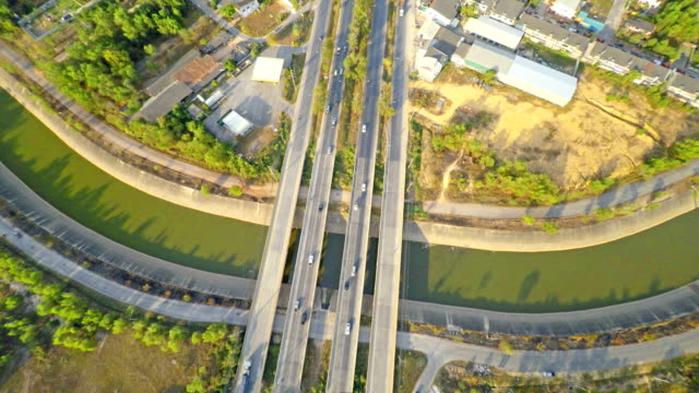 aerial footage of the highway traffic