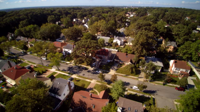 aerial footage of the queens village residential area, new york city, usa. - townhouse stock videos & royalty-free footage