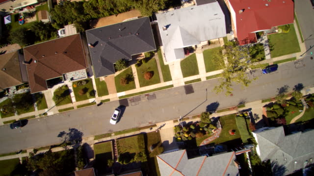 Aerial footage of the Queens Village residential area, New York City, USA.