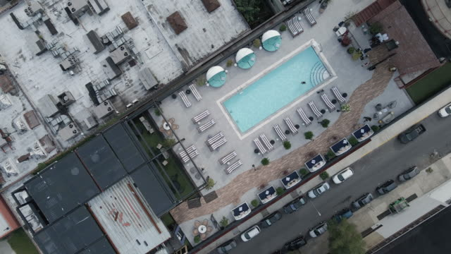 aerial footage of the rooftop pool at the williamsburg hotel - exclusive stock videos & royalty-free footage