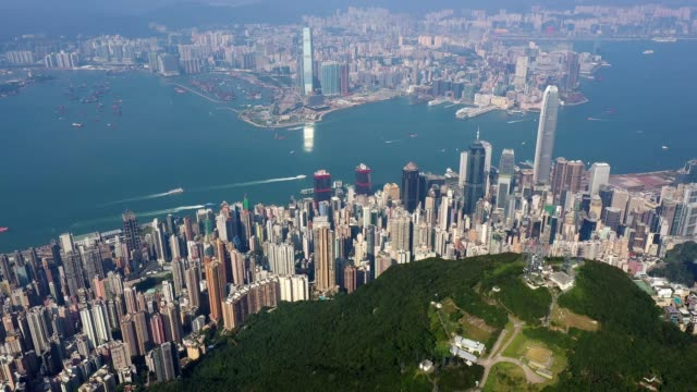 aerial footage of the summit of the victoria peak in hong kong island - hong kong island stock videos & royalty-free footage