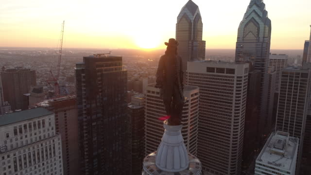 aerial footage of philadelphia - william penn stock videos and b-roll footage