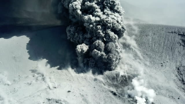 Aerial footage of volcanic eruption at Shinmoedake crater at Kirishima volcano in Japan