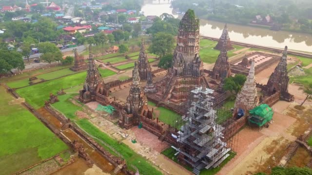 aerial footage of wat chaiwatthanaram is a buddhist temple in the city of ayutthaya historical park, thailand, on the west bank of the chao phraya river, outside island. - atheism stock videos & royalty-free footage