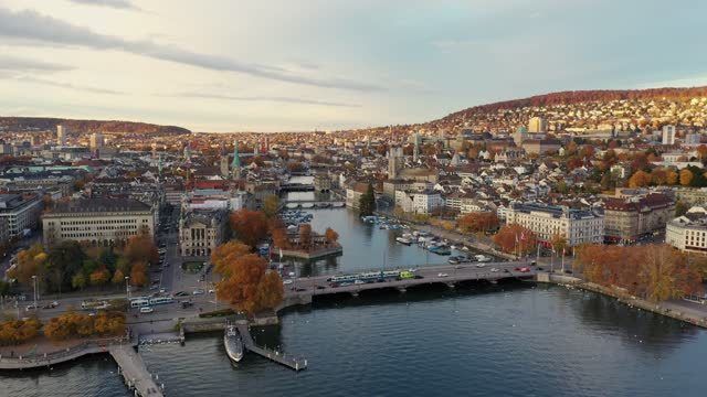 aerial footage of zurich old town with autumn colors in switzerland largest city - switzerland stock videos & royalty-free footage