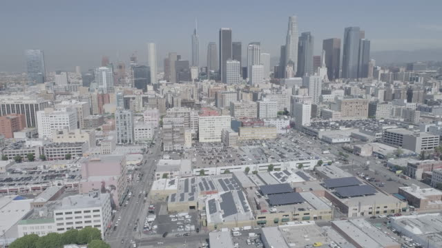 Aerial footage over downtown Los Angeles
