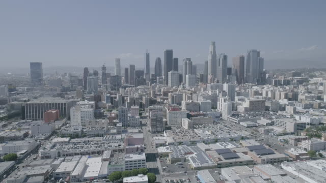 aerial footage over downtown los angeles - tilt up stock videos & royalty-free footage