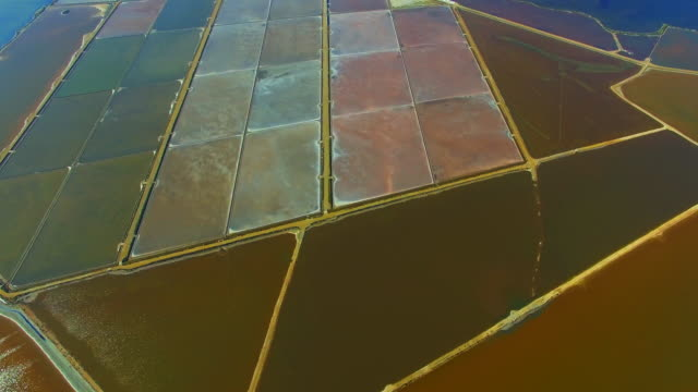 aerial footage recorded with drone flying over the stunning ebro delta, with colors, nice geometric shapes and salt pans and amazing textures. 4k uhd. - natürliches muster stock-videos und b-roll-filmmaterial