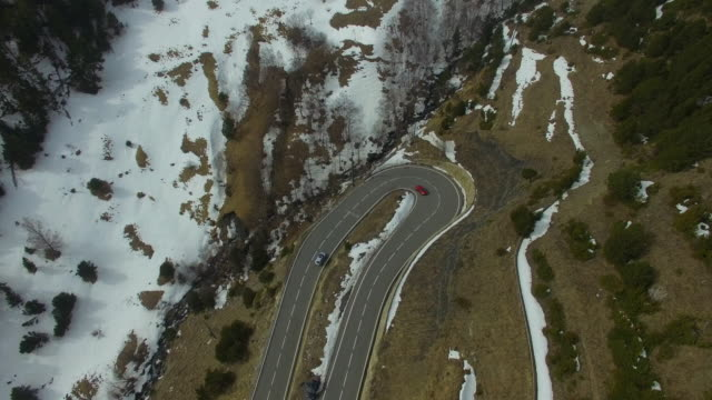 Aerial footage recorded with drone of a stunning mountain road in the Andorra Pyrenees landscape with nice curves and visual shape. 4K UHD.