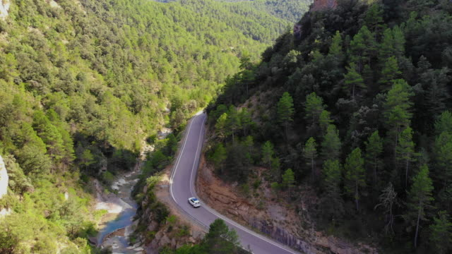 Aerial footage recorded with drone of stunning road in the mountains.