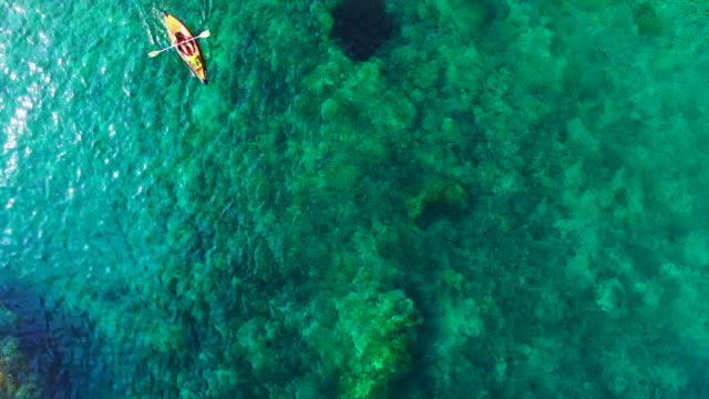 vídeos y material grabado en eventos de stock de aerial footage recorded with drone of two girls practicing kayak in the mediterranean sea of costa brava on summer with clear and crystal waters in an idyllic place. 4k uhd. - deporte acuático